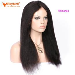 Skybird 18 inches Yaki Straight Pre Plucked Hairline Lace Front Brazilian Human Hair Wigs Natural Color Hair Wigs