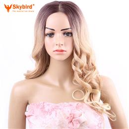 Skybird Middle Part Wigs Body Wave Lace Front Wig Ombre Long Blond Wigs for Women 18inch