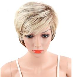 Ombre Short Big Wavy Synthetic Wig For White Women Blonde To Black Color Natural Hair With Bangs
