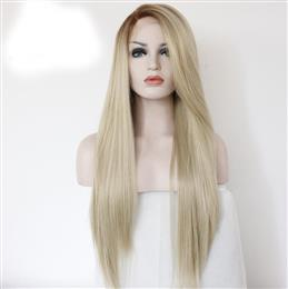 Ombre Straight Style Light Brown To Blonde Color Synthetic Lace Front Wig For women