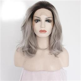 Hand Tied High Temperature Fiber Dark Roots To grey Short Body Wave Heat Resistant Synthetic Lace Front Women Wig
