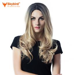 Skybird 2 Tone Ombre Wig Black to Blonde 26inch Long Wavy Wigs For  Women's Daywear Or Cosplay