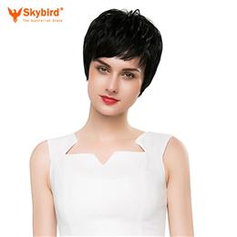 Skybird Real Human Hair Wig Short Hair Side Part  Black