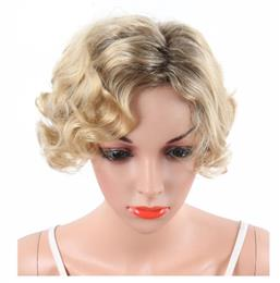 Blonde short curly wig Synthetic wig hair for woman