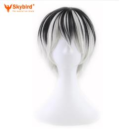 Skybird Short Straight Men Synthetic Wigs Black Silver Mixed Color High Heat Resistant Fiber Cosplay Hair