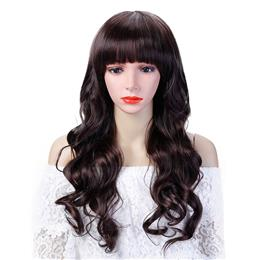 Synthetic Hair Long Wavy Curly Wig With Bangs Cosplay Wig For Women