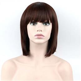 Women Full Fringe Short Bob Wig Brown Burgundy Synthetic Hair Wig 12inch