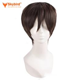 Skybird Synthetic Men Wigs 10 Inch Black Brown Short Straight Hair Nautral Cosplay Halloween Peruca