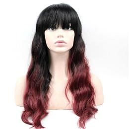 Black Burg Wigs Long Curly Wig Cosplay Party Wigs For Women Synthetic Hair 60cm