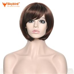 Skybird Afro Women Heat Resistance Synthetic Fiber Asymmetrical Tilted Bangs Dark Brown Ombre Short Wigs Highlight