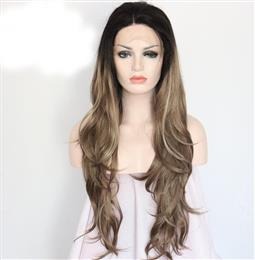 Black Ombre Silvery Brown Highlight Hand Tied Cosplay Party Synthetic Lace Front Wig For Masquerade Makeup
