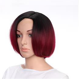 "10"" Ombre Red Color Synthetic Hair Short Straight Wigs for Women"