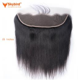 Skybird 20 inches Brazilian Lace Frontal Closure Straight 13x4 Free Part Remy Human Hair Bleached Knots