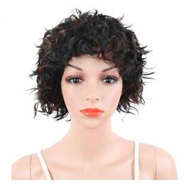 Short Wigs For Women Natural Heat Resistant Synthetic Hair Afro Kinky Curly Black Mix Brown Pixie Cut Hairstyle