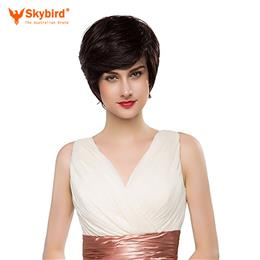 Skybird Real Human Hair Wig Short Bobo Hair Black