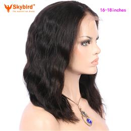 Skybird 16-18 inches Natural Wave Brazilian Non-Remy Pre Plucked lace Front Wigs Short Bob Natural Color Human Hair wigs