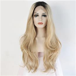 Two Tone Black To Blond High Temperature Fiber Hair Natural Wavy Heat Resistant Glueless Synthetic Lace Front Wig