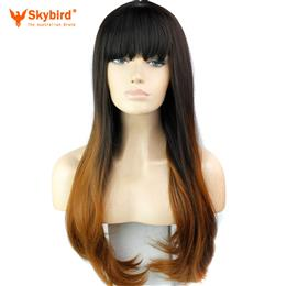 Skybird Synthetic Ombre Wig Long Straight Wig For Women High Temperature Fiber