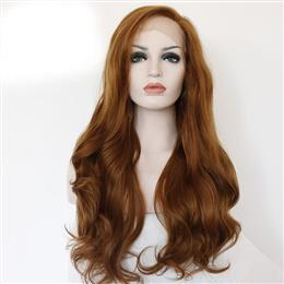 Summer Brown Color Heat Resistant Hair 150% Density Cosplay Party Synthetic Lace Front Wig For Women Wedding Gift