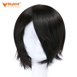 Skybird Short Straight Nautral Cosplay Wigs Black Naruto Uchiha Sasuke Heat Resistant Synthetic Hair