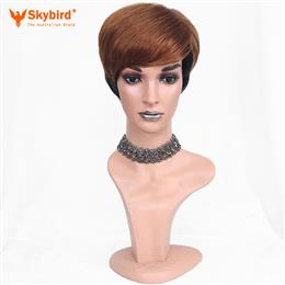 Skybird Women Ombre Pixie Cut Synthetic Wigs Short Straight Mixed Brown Heat Resistant Fiber 6 inch
