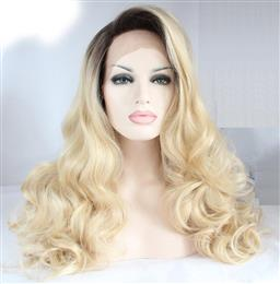 Blonde Ombre Long Bodywave Synthetic Lace Front Wigs With Dark Roots Glueless Ombre Hair