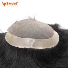 Stock Fine Mono With Skin Around Hair Men Toupee Hair Replacement Men Toupee Free Shipping