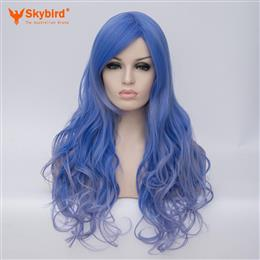 Skybird 26inch Heat Resistant Fiber Hair Dark Root Ombre Blue Highlight Body Wave Synthetic Wig For Women Cosplay
