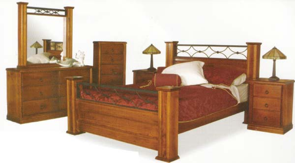 Iron Castle 5 Piece Queen Bedroom Suite with Solid Pine (Clear Grade)