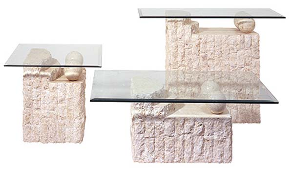 Ivory Fossil Stone Bahamas Coffee, End and Sofa Table