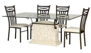 Cleopatra 7 Piece Dining Suite with Antiqued Metal Finish