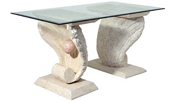 Ivory Fossil Stone Clam Shell Dining Table