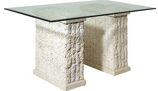 Polished & Rough Ivory Fossil Stone Maui Dining Table