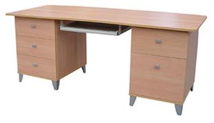 Tasman G--Desk with 4 Drawers and Filing Cabinet with Keyboard Slide