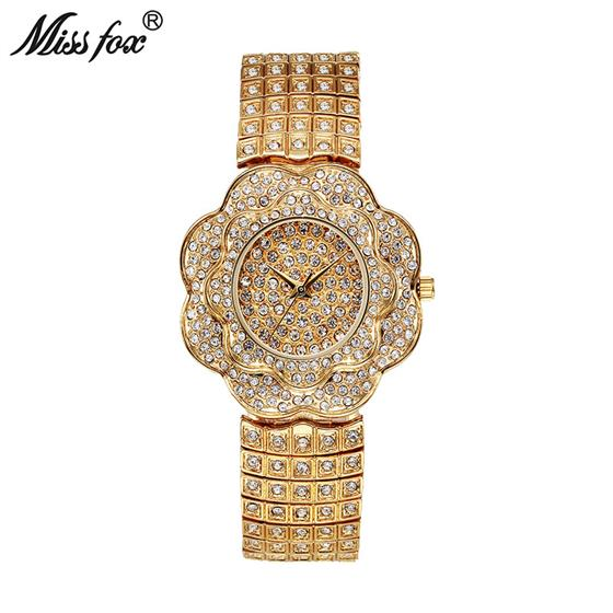 Quartz Watch Women Rose Flower Full Diamond Fashion Clock Ladies Wrist Watches Ladies Watch, Miss Fox Original