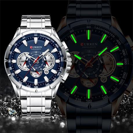 CURREN New Causal Sport Chronograph Men's Watch Sport Watch, Stainless Steel Band Wristwatch Big Dial Quartz Watches with Luminous Pointers