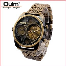 Wrist Watch Men Analog Quartz Dial Dual Time Round Dial Steel Watchband Wristwatch