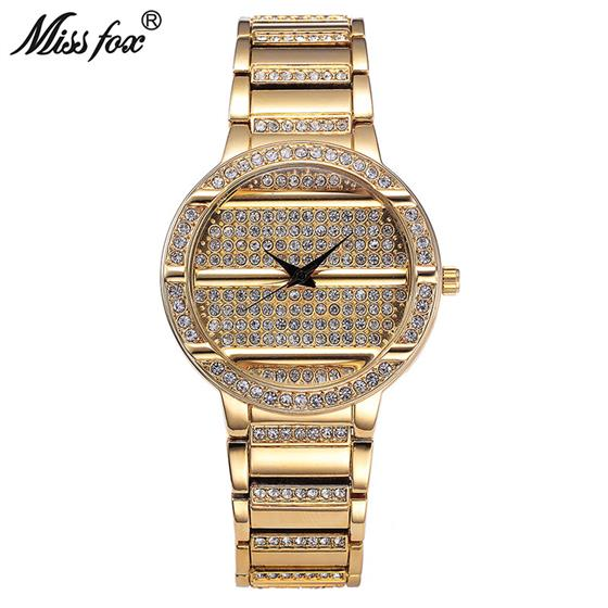 Women Watch Luxury Brand Gold Full Diamond 37mm Watch Female Gems Steel Timepiece , Miss Fox Original