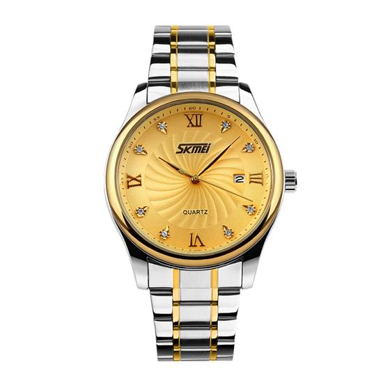 SKMEI Casual Quartz Watch Men Luxury Wrist Stainless Steel 9101 Role Watch Mens Watches, Classic Brand