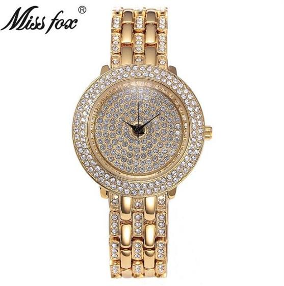 Gold Watches Women Rhinestone Quartz Female Wristwatch Stainless Steel Gift For Girls, Miss Fox Original