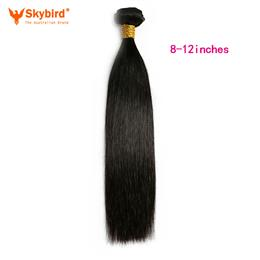 Skybird 8-12inches Brazilian Straight Remy Human Hair Weave Bundles Natural Black Color Double Weft Hair Extensions