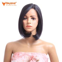 Skybird 12inch Synthetic Straight Lace Front Wig Short Black Bob Wig Honey  for  Women