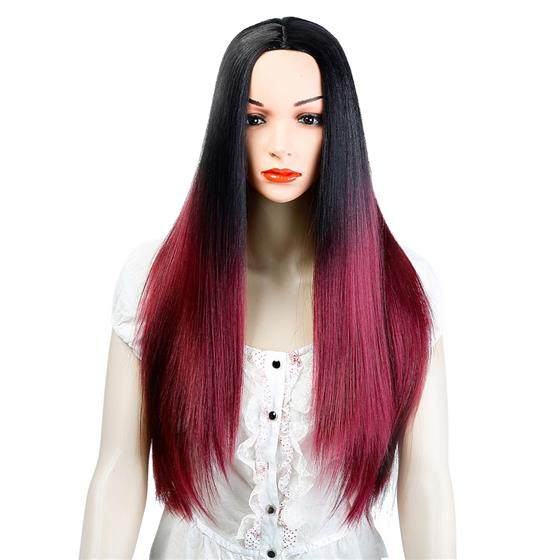 Synthetic Wigs Ombre Black Red Long Straight Hair for Women, High Temperature Fiber Cosplay Wig