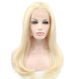 Blonde Natural Long Straight Soft Blonde Hair Synthetic Lace Front Wigs 180% Density Free Part