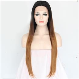 1B Ombre Brown Three Color Hand Tied Straight Glueless High density Synthetic Lace Front Party Wig