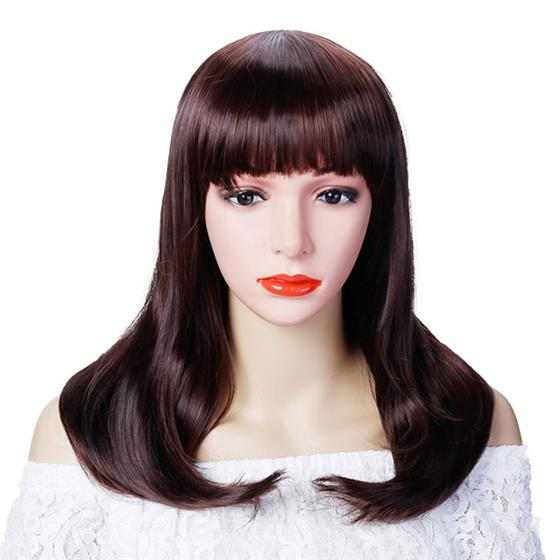 Short Straight Wigs Black Brown 3 Colors Synthetic Hair For Women, High Temperature Fiber