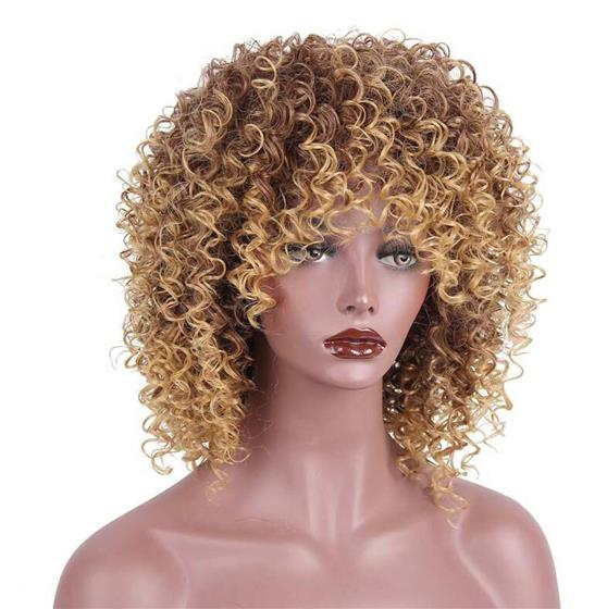 16 inches Synthetic Long Afro Kinky Curly Wigs for Black Women Blonde Mixed Brown Hair, Mix Color